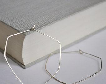 Diamond Shaped Hoop Earrings - Geometric Hoops - Sterling Silver Elegant Jewelry - 2 inch Earrings