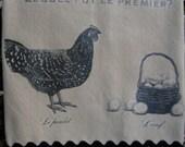 Lequel Fut Le Premier Design Wheat Colored Flour Sack Towel Trimmed with Crisp Black Rick Rack