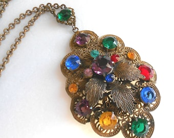 Stunning Czech Art Deco vintage necklace, huge brass filigree rhinestone pendant necklace