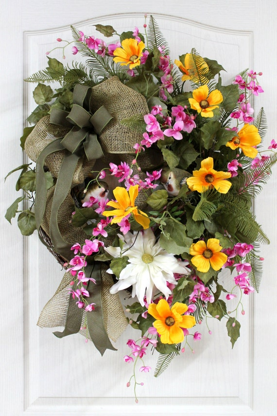 Items similar to colorful country front door wreath for Colorful summer wreaths
