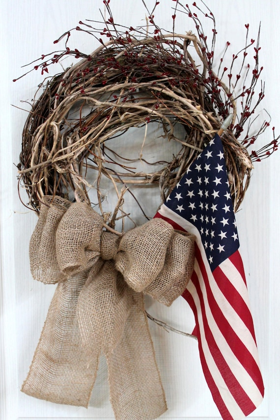Items Similar To Primitive Patriotic Front Door Wreath