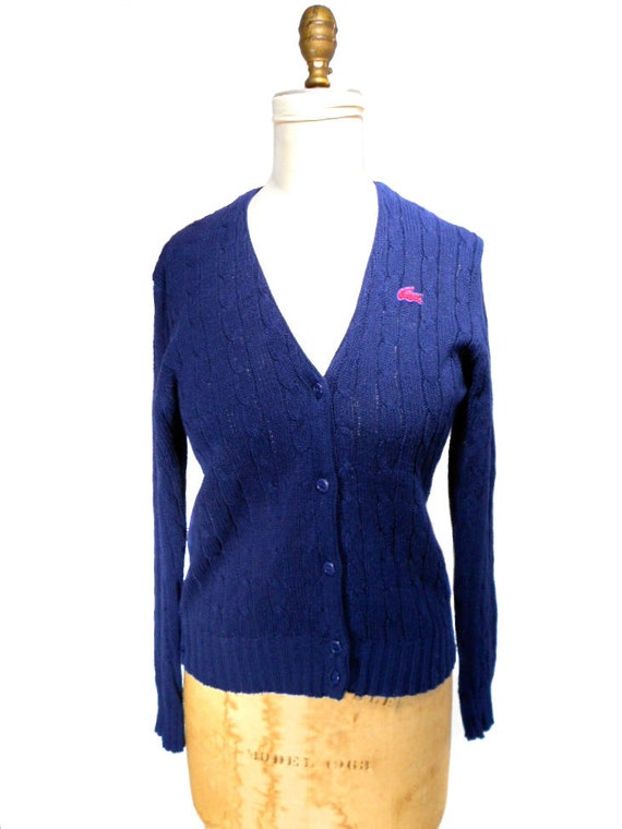 1960s Izod For Her Lacoste Cardigan Sweater - Mad Men - Navy Blue - Country Club - Cable Knit Sweater - Size Large
