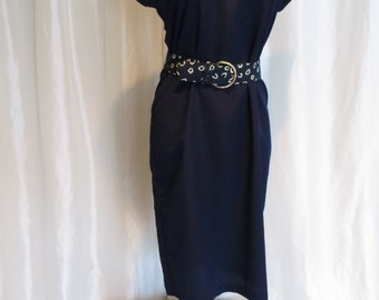 Vintage womens 70s summer dress navy blue short sleeve size M L