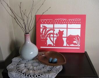 Cat in Window with Goldfish Valentine Papercut Wall Art
