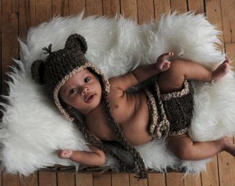 Crochet Baby Hat  and Diaper Cover Set Brown Tweed earflaps bear ears