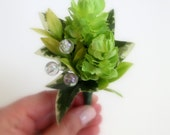 Faux Wedding Boutonniere - Anniversary Boutonniere - Prom Boutonniere - Lime Green Hops Boutonniere