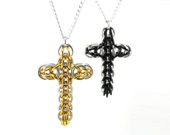 Classic Chainmail Cross Necklace - Metal Crochet Cross Pendant for Men Women - Womens Mens Cross Necklace