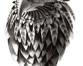 Ornate Black and White Rendered Drawing of Tribal Shamanic Eagle Print 10X16