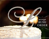 A-Z Initial SILVER Metal N Cake Toppers in Elegant Script Letter Style with the Fine Set-In Rhinestones