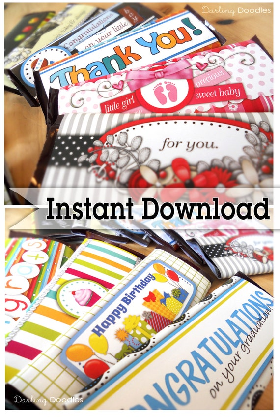 Gift Card Holder - Candy Bar Wrappers - Special Occasion Gift - Chocolate Bar Wrapper - Holiday Candy Bar Label - Holiday Gift Card Holder