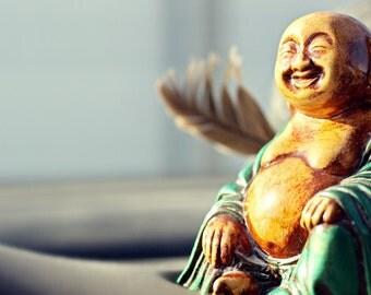 The Jolly Buddha 13x19 Fine Art Photograph Home Decor Wall Art Buddha Buddhist Yin-Yang Golden Statue Feather Calm Patient Faith