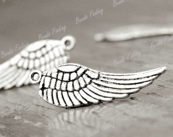 5 Silver Antique Feathered Wing Wings Angel Symbol Charms 30mm