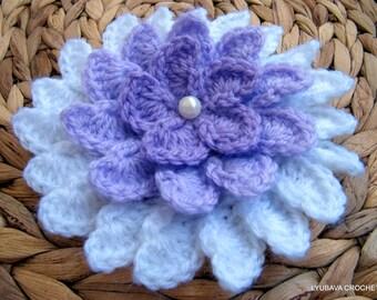 Crochet Flower PATTERN, Lilac Flower DIY Crafts, Unique Crochet Big 3d Flowers, Instant Download PDF Digital Pattern No.37 Lyubava Crochet