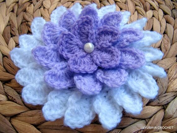 CROCHET Flower PATTERN, Big Flower Pattern, Lilac Flower, DIY Crochet Flowers, Instant Digital Download Lyubava Crochet Pdf Pattern No.37