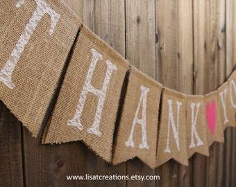 Thank You Burlap Banner with Heart // Wedding Decoration