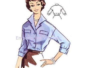 Plus Size (or any size) Vintage 1950s Blouse Pattern - PDF - Pattern No 96 Michelle