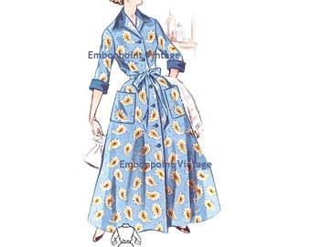 Plus Size (or any size) Vintage 1950s Dressing Gown Pattern - PDF - Pattern 224 Marianne