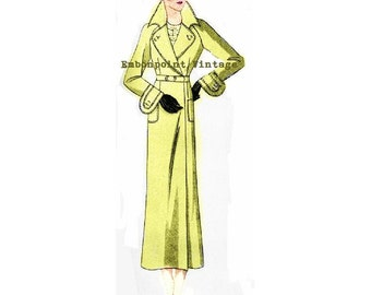 Plus Size (or any size) 1934 Vintage Coat Sewing Pattern - PDF - Pattern No 78 Elva