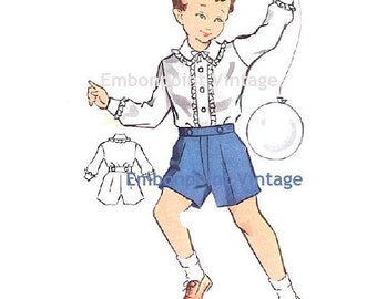 Plus Size (or any size) Vintage 1950s Boy's Shirt Pattern - PDF - Pattern No 167a William Shirt