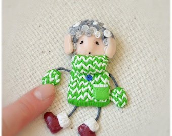 Doll Brooch, Lamb Boy, Little Sheep Boy, Funny Kids gift, Christmas gift, Cute sheep, Little lamb, funny animal brooch, kawaii jewelry