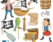 Pirates Clip Art - Pirate Scrapbooking , card design, invitations, stickers, paper crafts, web design - INSTANT DOWNLOAD