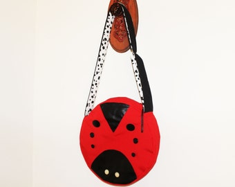 Ladybug Bag Red Messenger Bag Upcycled Handmade Unique Novelty Canteen with Chain Tassel Zipper Pull