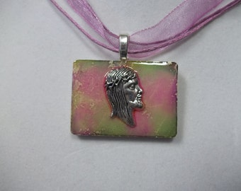 OOAK Religious Jesus altered art alcohol ink dyed handcrafted Rummikub Game Piece Pendant Necklace