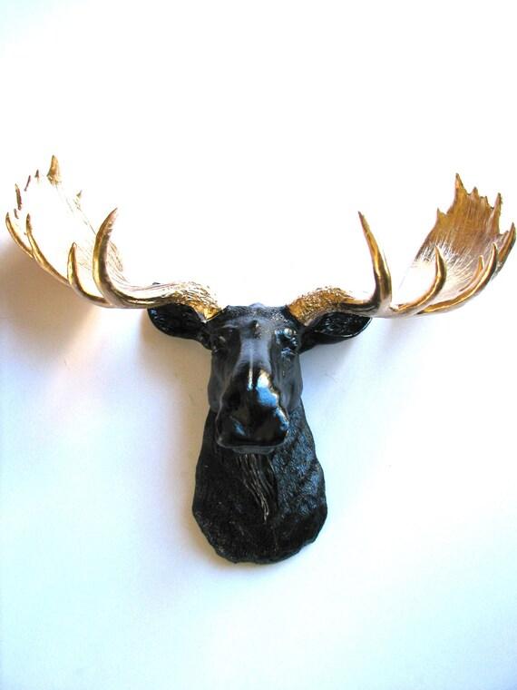 Black gold faux taxidermy moose head wall hanging by mahzerandvee - Fake moose head ...