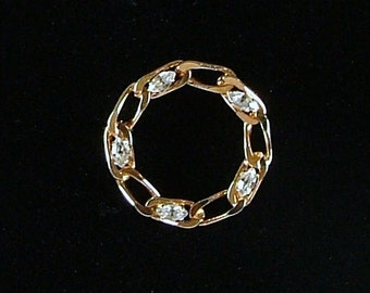 Gold Tone Circle Brooch with Rhinestones