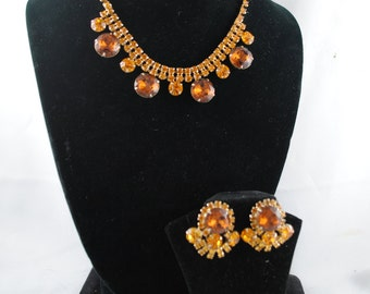 FREE SHIPPING SALE 1950's 1950s Prong Set Amber Colored Rhinestone Choker Bib Necklace Earrings Set Mad Men