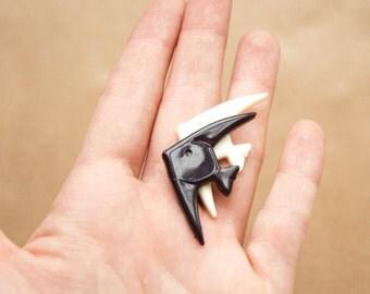 Black White Fish Brooch - Fish Pin - Plastic Brooch Retro Jewelry Figural