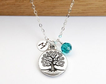 Silver Tree of Life Necklace, Personalized Necklace, Birthstone Necklace New Mom, Necklace Mothers Necklace Initial Necklace Mothers Jewelry