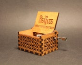 Engraved  wooden music box (Here Comes the Sun - Beatles)