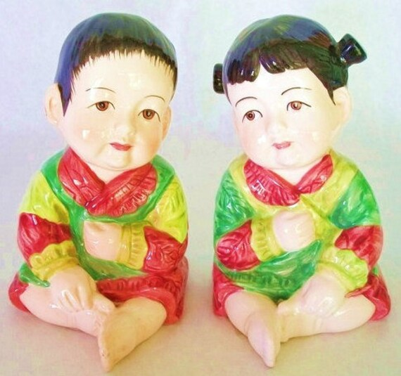Vintage Mann Ceramic Porcelain Asian Boy and Girl Figurines Or Statuettes, Japan, Mid Century Home Decor