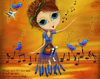 """Title: """"Songs of the Heart"""". Inspirational and colorful Giclee Art Print. Singing Birds"""