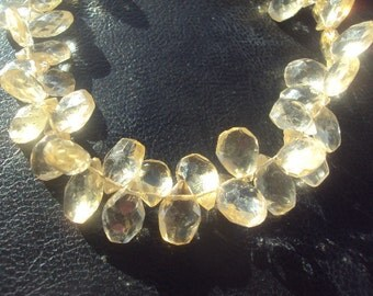 50% OFF SALE Champagne Citrine Faceted Pear Briolette Beads Half Strand 4 Inch 8-12mm