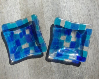 Blue and teal mini square glass fused dishes (set of 2)