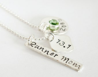 Runner Mom Marathon Hand Stamped with Kids Name Necklace Run Jewelry for Women Sterling Silver