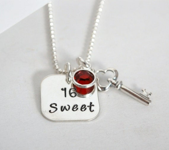 Sweet 16 Charm Bracelet: Custom Sweet 16 Necklace Sweet Sixteen Jewelry Hand Stamped