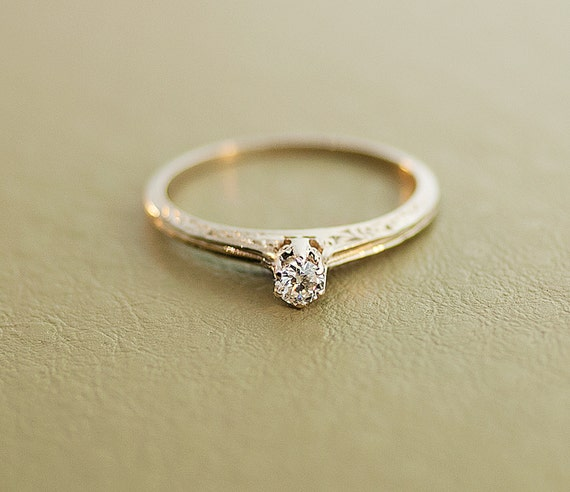 dainty and antique 14k white gold engagement
