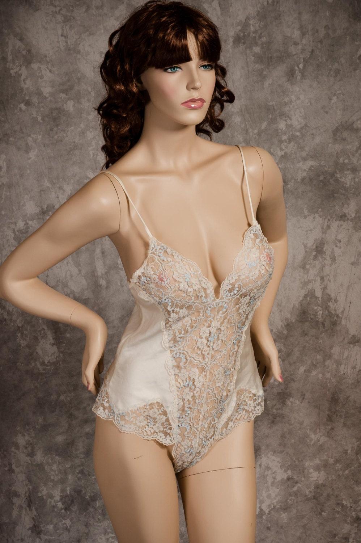 Vintage Teddy Lingerie Victoria's Secret Satin & Lace
