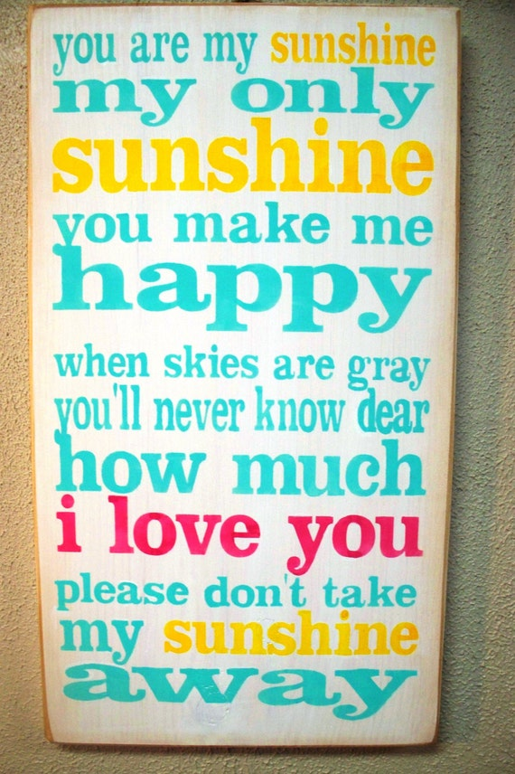 YOU are MY SUNSHINE - Pink Turquoise & Yellow -  Painted wooden sign - Hand Painted sign - Wood sign - Primitive sign - Girls Room - sign