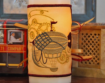 Vintage Steampunk Syle Blimp with Gears - Embroidered Candle Wrap For LED Flameless Pillar Candles.