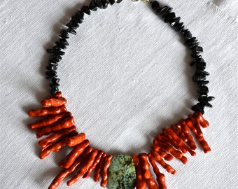 Dramatic African Turquoise and Coral Branch Necklace with Black Stone
