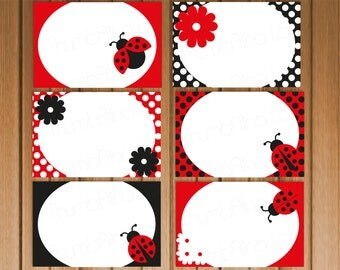 Ladybug Printable Folding Buffet Cards, Instant Download, Polka Dots, DIY, Birthday, Baby Shower