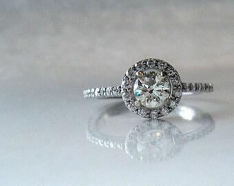 Half Carat Diamond Engagement Ring Diamond Halo Half Eternity Hand Engraved Leaf Pattern