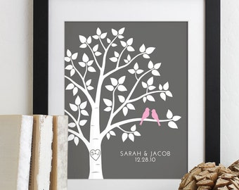Personalized Valentines Day Gift for Couples Gift for Wife Husband Wedding Gift for Her, Love Birds Wedding Family Tree Art Print