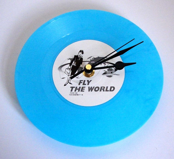"""FLY THE WORLD Vinyl Record Clock. Recycled 7"""" blue vinyl. Gift for would-be air hostess, 1950s vintage lover women girls sister best friend"""