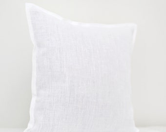 Pillow with piping - white linen pillow cover  - decorative pillows - euro shams  0026