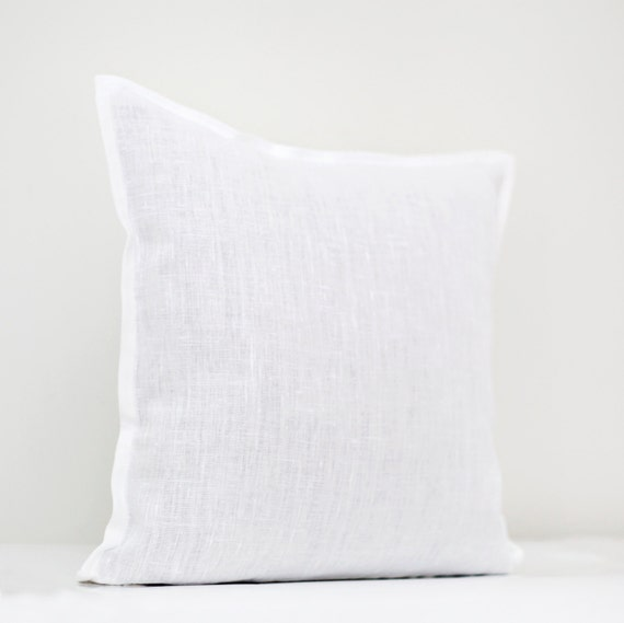 white linen pillow cover white pillow white decorative pillow linen pillow cover white - White Decorative Pillows